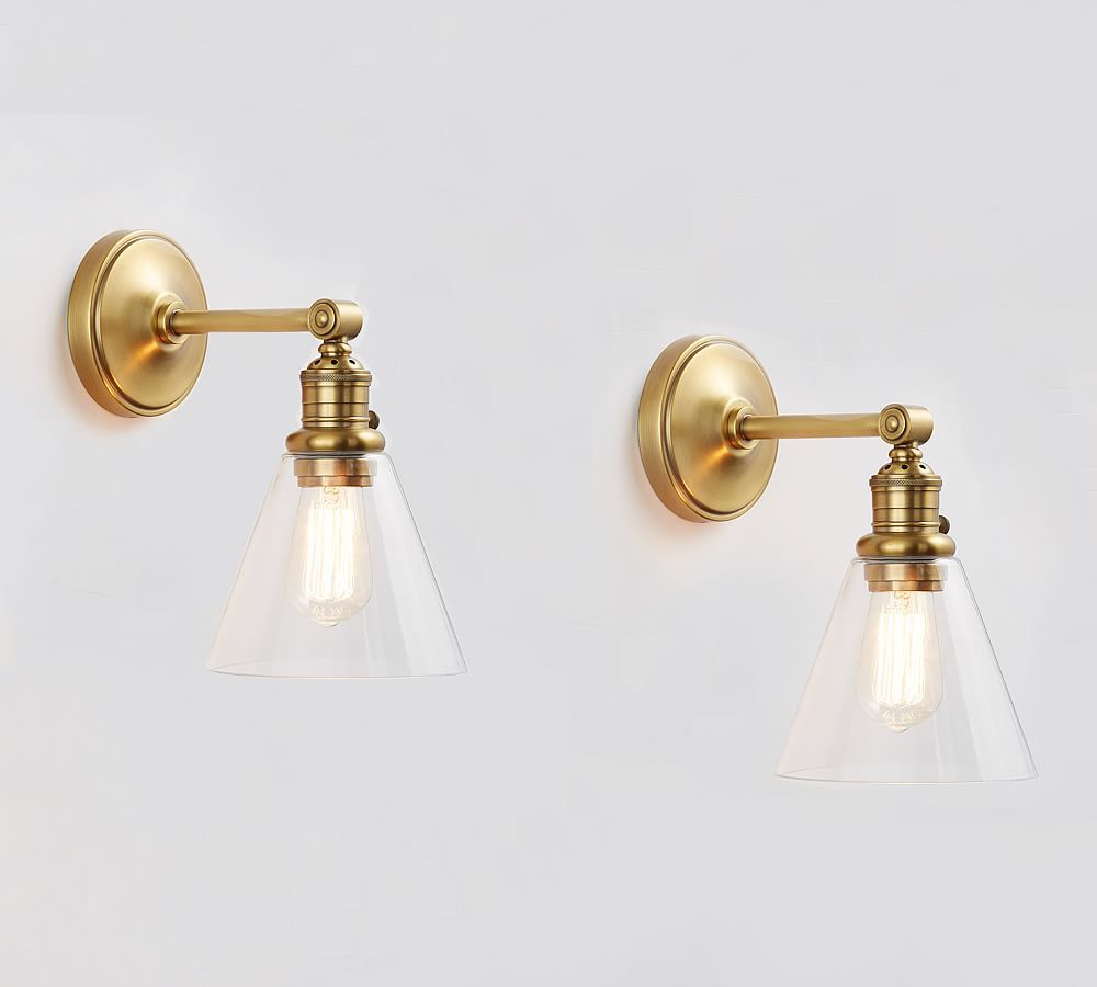Photo of Custom wall lamp with straight arm – flared glass