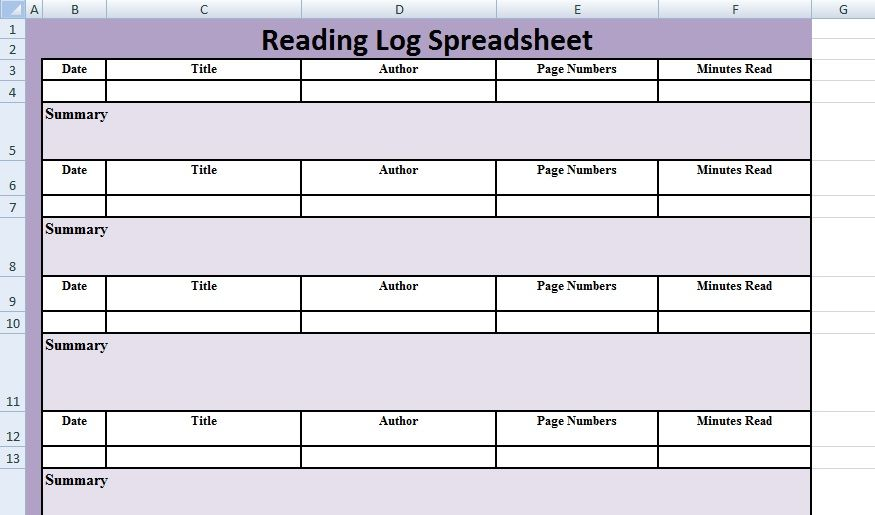 Reading Log Spreadsheet Template Excel Spreadsheet Templates