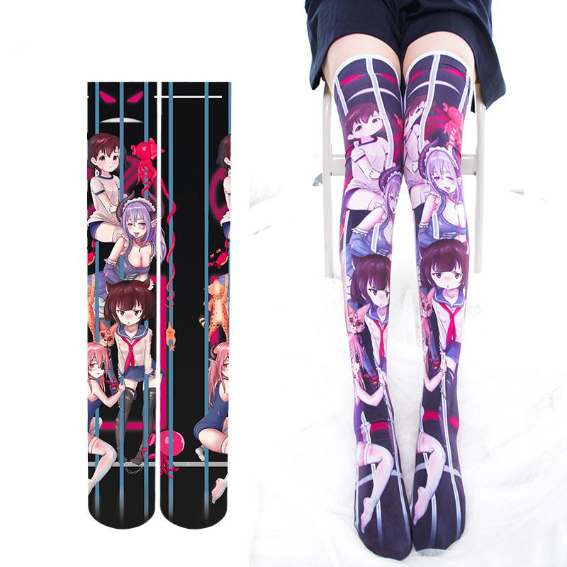 B Retro Printing Flower High Socks Silk Socks for Girls