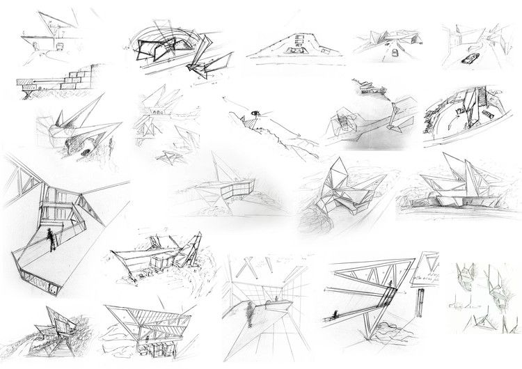 some initial sketches that show inspiration towards my own sketches and how to lay it out within