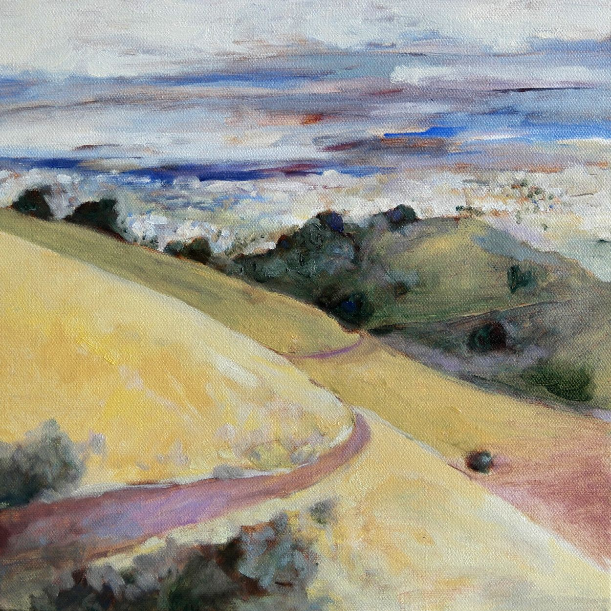 Landscape oil painting print California hike in the hills ...