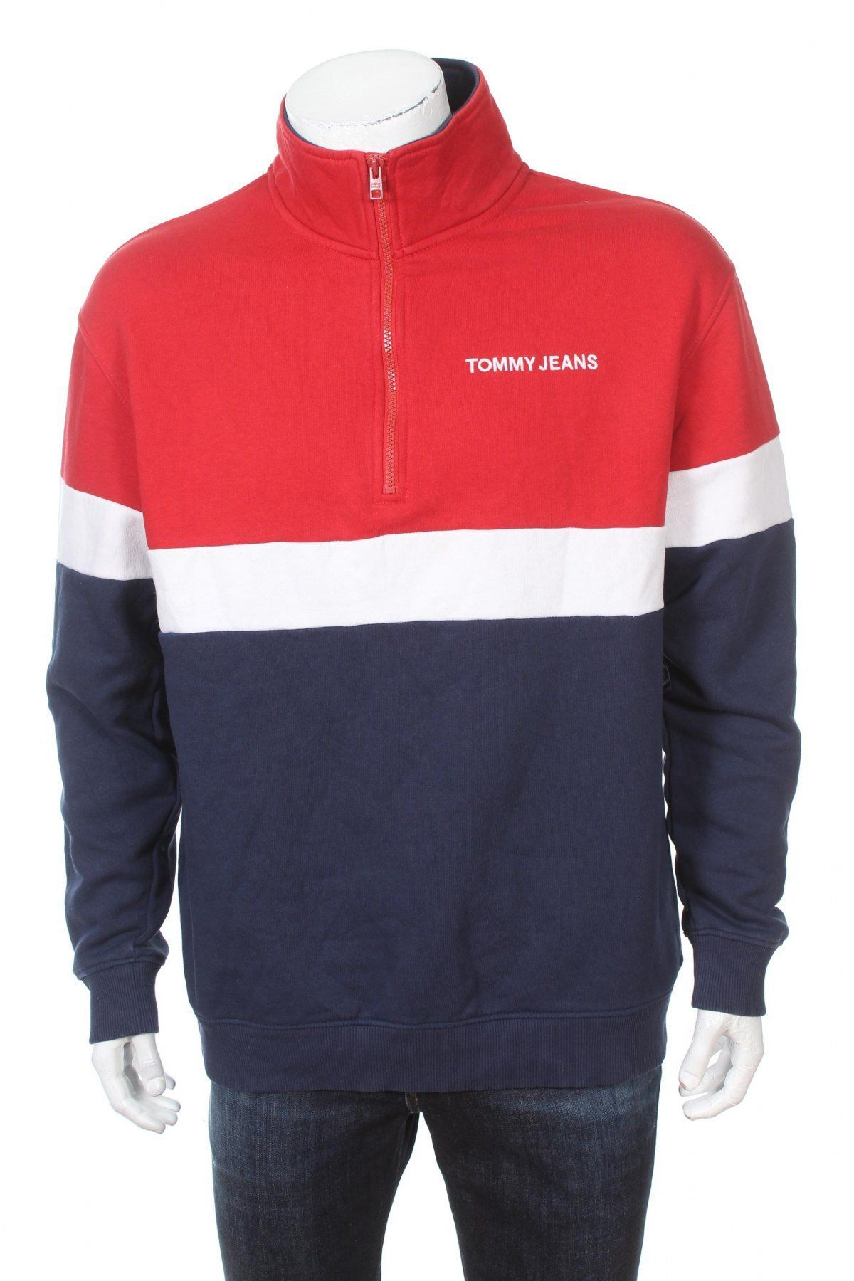 Tommy Jeans Mock Neck Flag Sweatshirt Red White Blue Size L