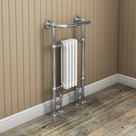 Traditional Mayfair Heated Towel Rail with Pair of Angled Crosshead Radiator Valves Feature Image