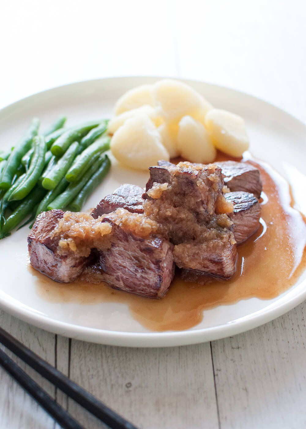 Diced Beef Steak Saikoro Steak With Japanese Style Sauces Recipetin Japan Recipe Cubed Beef Recipes Diced Beef Recipes Beef Recipes