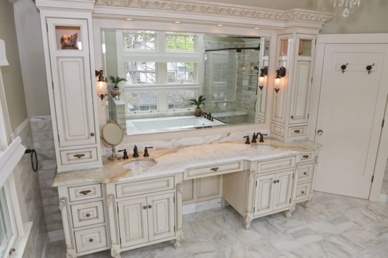 White Wooden Bathroom Vanity With Makeup Table And White Granite Top Also Sink Added Master Bathroom Vanity Double Vanity Bathroom Bathroom With Makeup Vanity