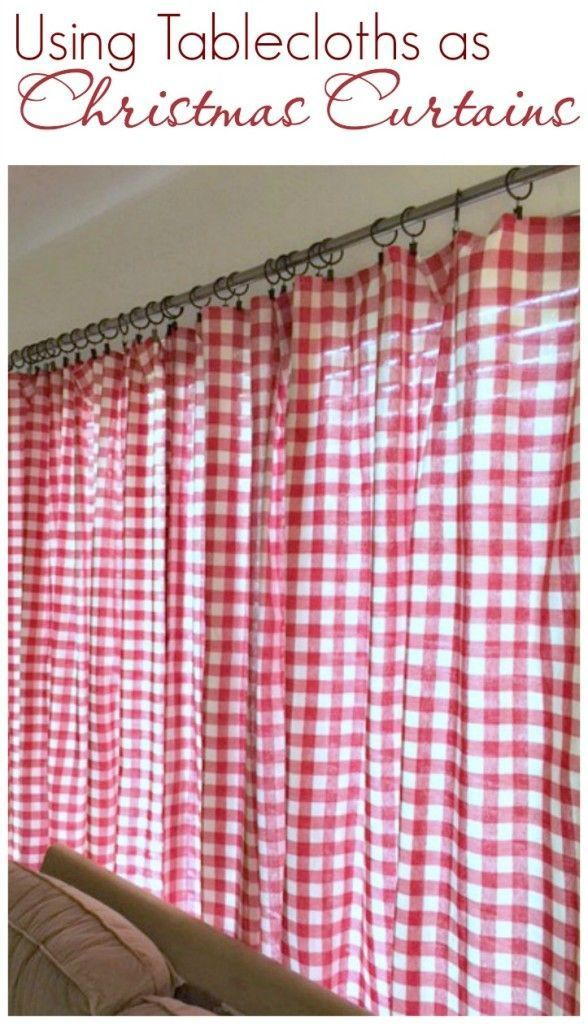 Use Tablecloths For Holiday Curtains And Pillows