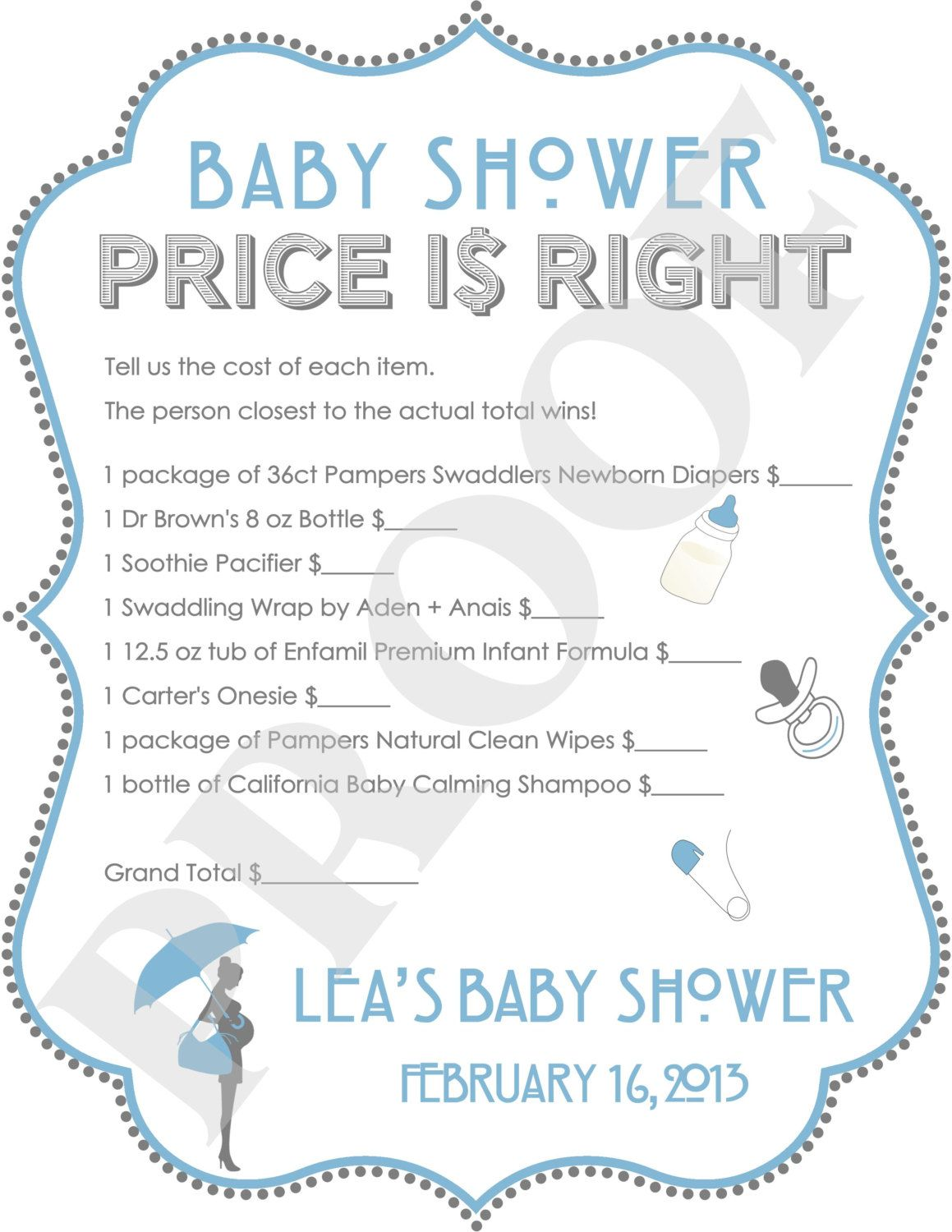 Personalized Price Is Right Baby Shower Game Blue (JPEG File)