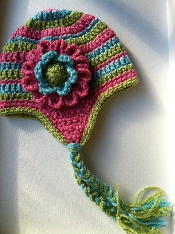 5a3837c4670 Crochet Hat with Flower and Earflaps