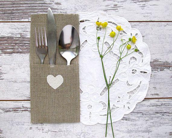 24 Wedding Silverware Holders White Hearts Tableware