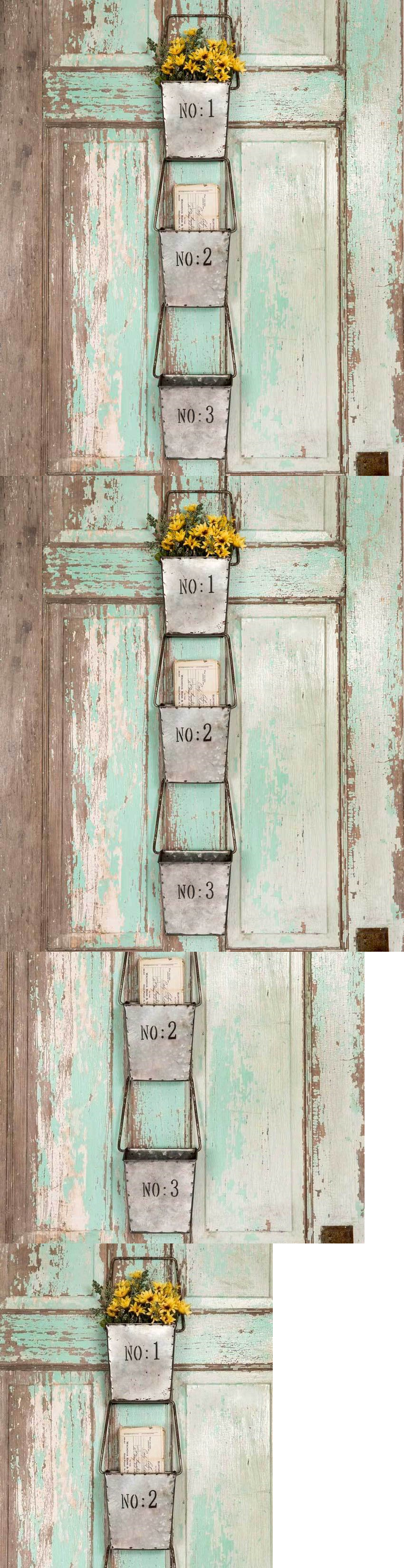 wall pockets rustic country style metal set of three hanging wall pockets organizer