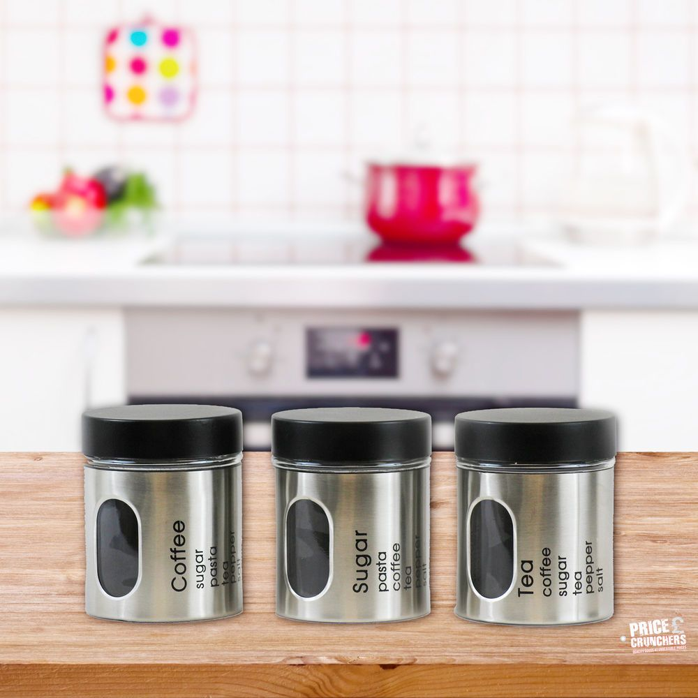 3 Set Kitchen Canister Storage Set Tea Coffee Sugar Stainless Steel Jars Silver & 3 pc Tea Coffee Sugar Jar Canisters Set Kitchen Storage Jars Black ...