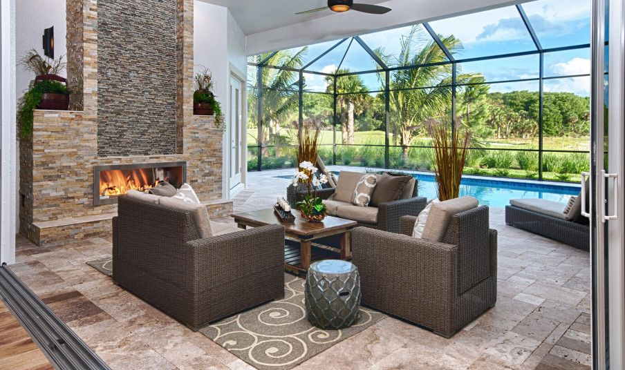 Coastal Contemporary Lanai Stone Clad Fireplace Divco Custom