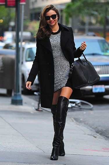 866c7a57190 miranda kerr alexander wang sweater dress givency wool coat hermes over the  knee black leather boots