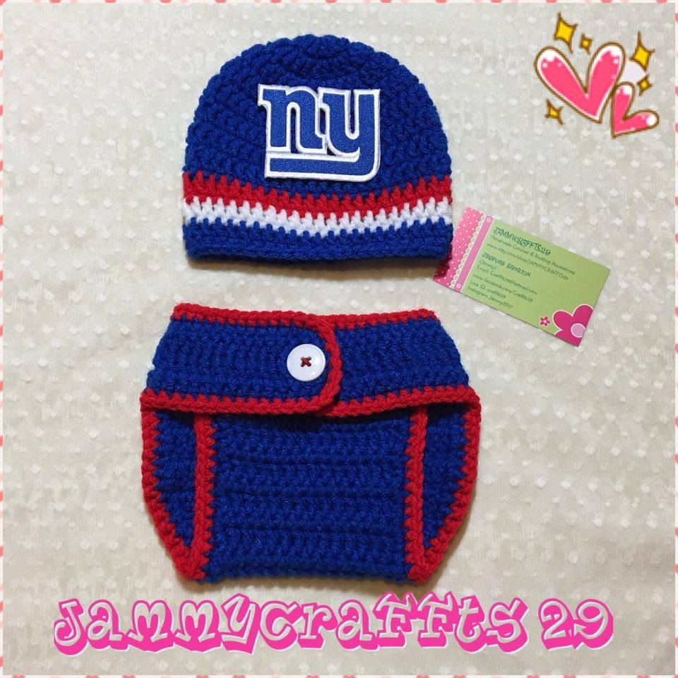 Crochet Baby NY Giants Diaper Cover Set/Baby Football/Newborn Baby ...