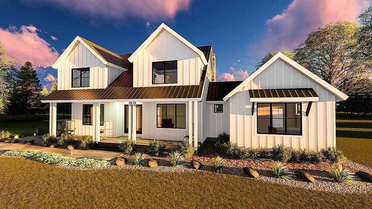 Modern farmhouse with master down and three beds up dj architectural designs house plans also plan rh pinterest