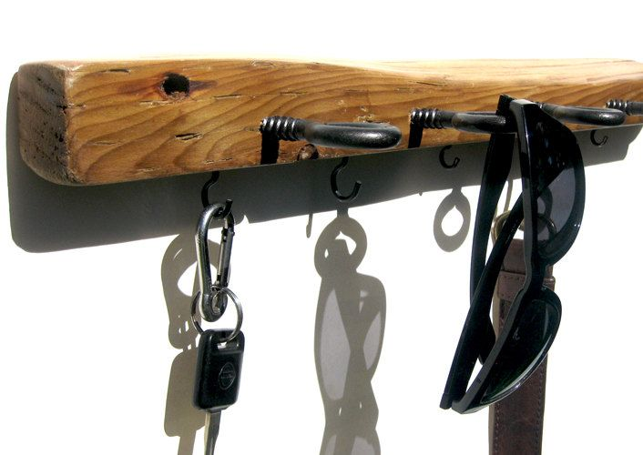 Driftwood Sunglass, Key & Leash Wall Rack // Wall Mount Storage Holder for Entryway // Salvaged, Upcycled // OOAK Rustic Decor. $58.00, via Etsy.