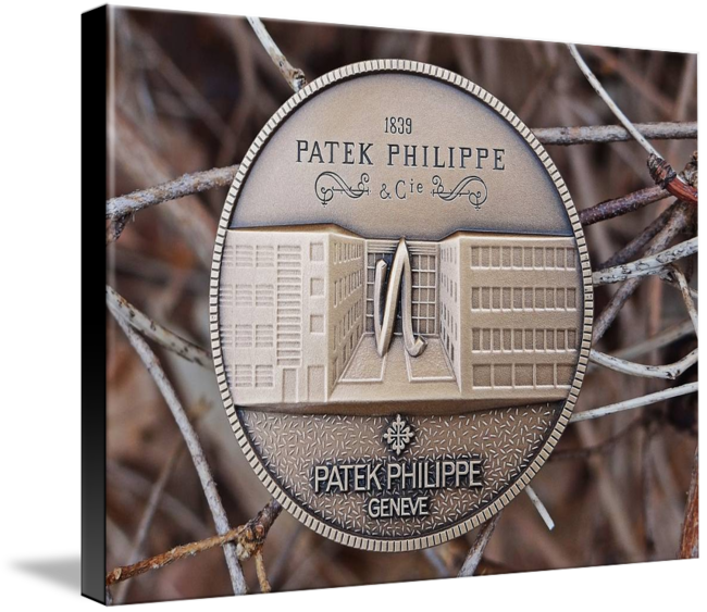 "Patek Philippe Geneve Commemorative Medal Coin $123 // Style: Black Edge Canvas Print; Size: Large 23"" x 32"" // Visit http://www.imagekind.com/Patek-Philippe-Geneve-PPG_art?IMID=1dfdd1b3-f9f2-463b-894c-527202387dc6 for product details."