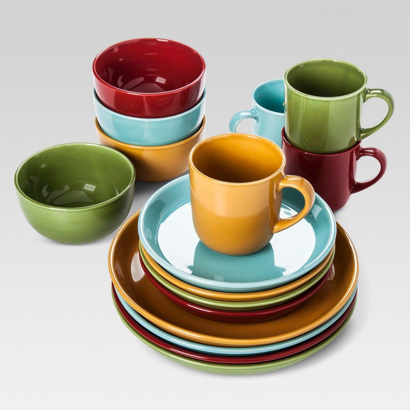 Stoneware 16pc Dinnerware Set Blue Yellow Red Green Threshold Image 2 Of 2 Dinnerware Set Red Green Dinnerware