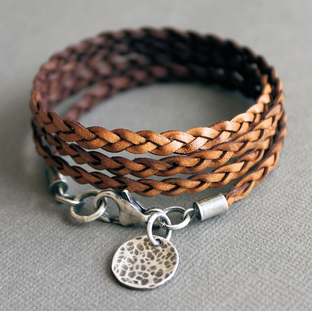 Leather Wrap Bracelet Brown Thin Flat Braid Sterling