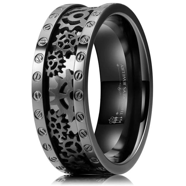 Men S Black Titanium Ring Cz Steampunk Gear Wheel Pinion Bolts Wedding Innovatodesign Black Titanium Ring Rings For Men Titanium Rings