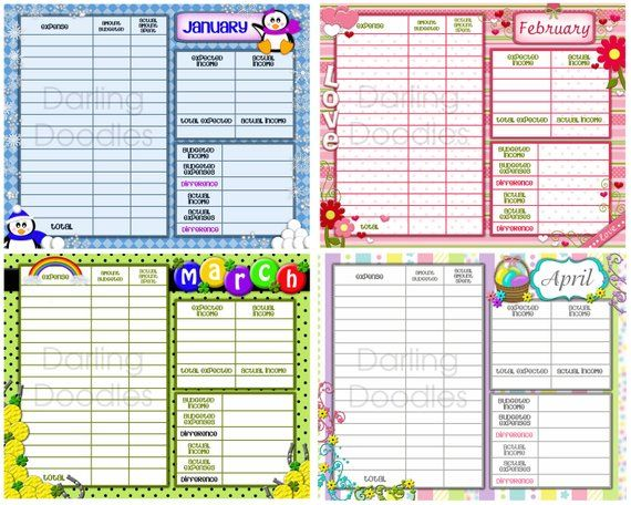 Printable Budget Worksheets Set of 12 - Yearly Budget Worksheet