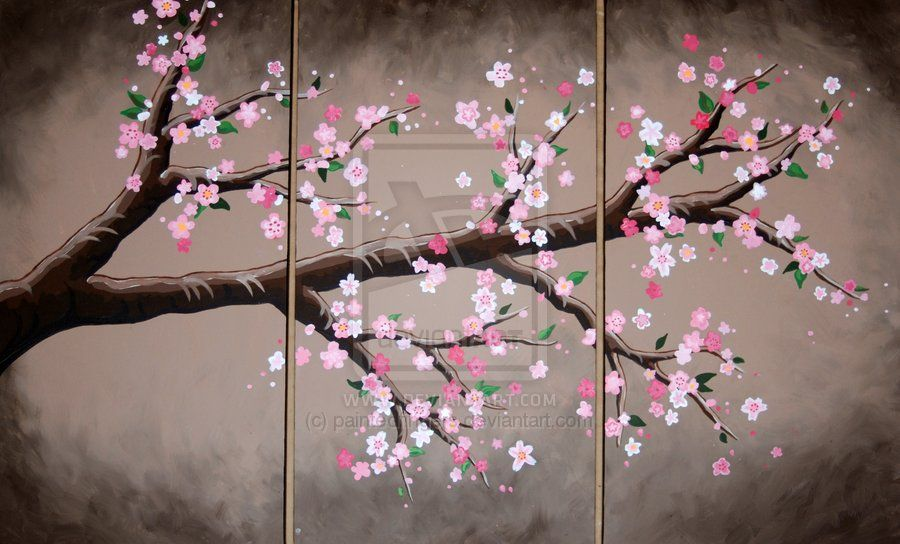 Cherry blossoms on pinterest cherry blossom painting for Canvas painting of cherry blossoms