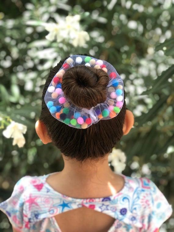 A Pair of Lovely Pom Pom Hair Bands 2 pom pom Decorative Pom Poms w//Band Black