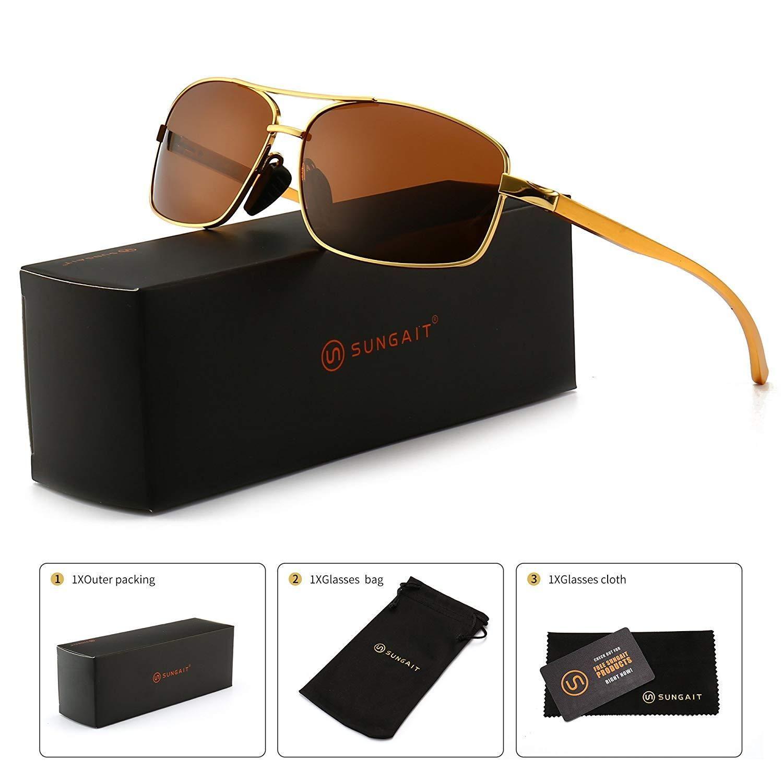 1ba33b0141f0 SUNGAIT Ultra Lightweight Rectangular Polarized Sunglasses 100% UV  protection in 2019