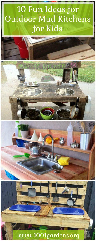 Mud kitchen upcycled pallet mud kitchen pallet kitchen counter with - 10 Fun Ideas For Outdoor Mud Kitchens For Kids Garden Pallet Projects Ideas Patio