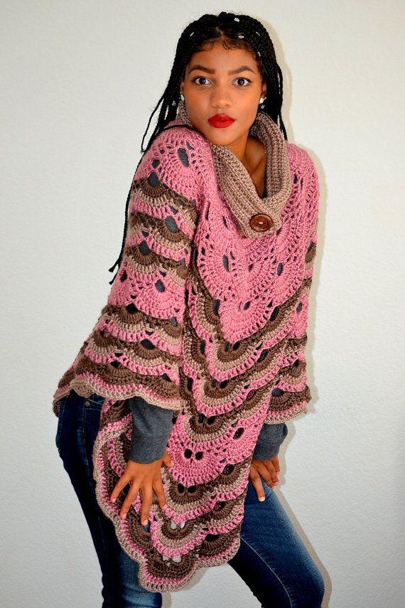 Virus Sweater Cowl/ Crochet Virus Poncho/ Virus Wrap/ High Fashion ...