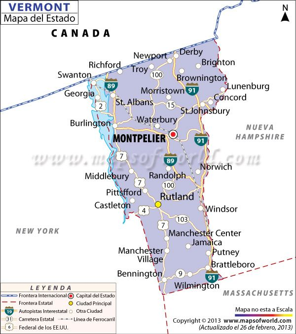 El Mapa Del Estado De Vermont Estados Unidos De America - Mapa de georgia