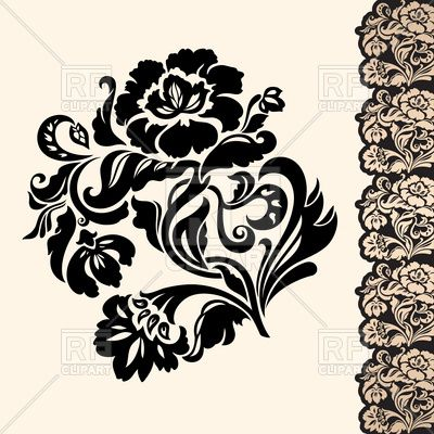 Victorian Floral Designs | Victorian floral design element with lacy border, download royalty ...