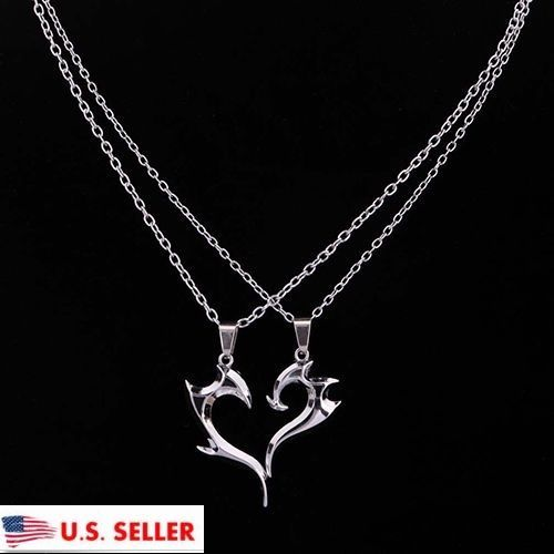 2Pcs Silver Plated Unique Magic Wand Design Heart Shape Pendant - wanddesign