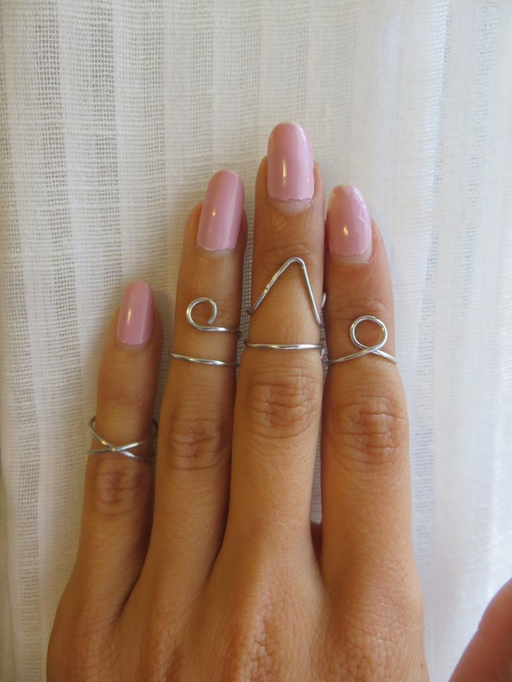 Silver Midi Above the knuckle rings - Set of 4 Amuminum wire wrap ...