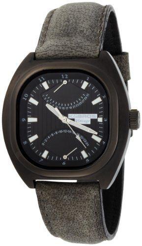 85752686496 K BROS Men s 9449-1 Steel Vintage Multifunction Vintage Black Leather Watch  K Bros.  135.00.
