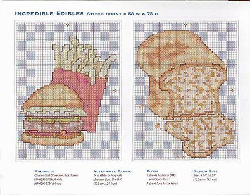 esquemas punto de cruz para bolsas de pan