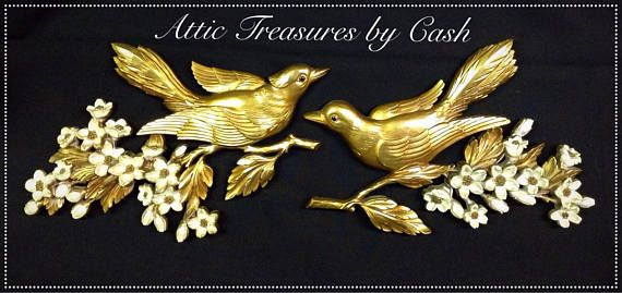 Mid Century Syroco Hollywood Regence Pair of Gold Birds with Dogwood ...
