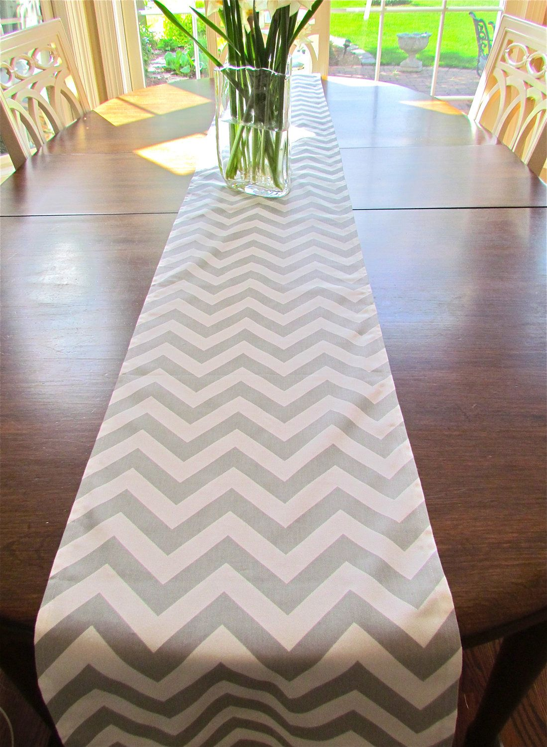 TABLE RUNNER 13 X 72 GRAY Chevron Table Runners Silver Wedding Showers  Decorative Christmas Holiday Table Runner Cloth. $23.95, Via Etsy.