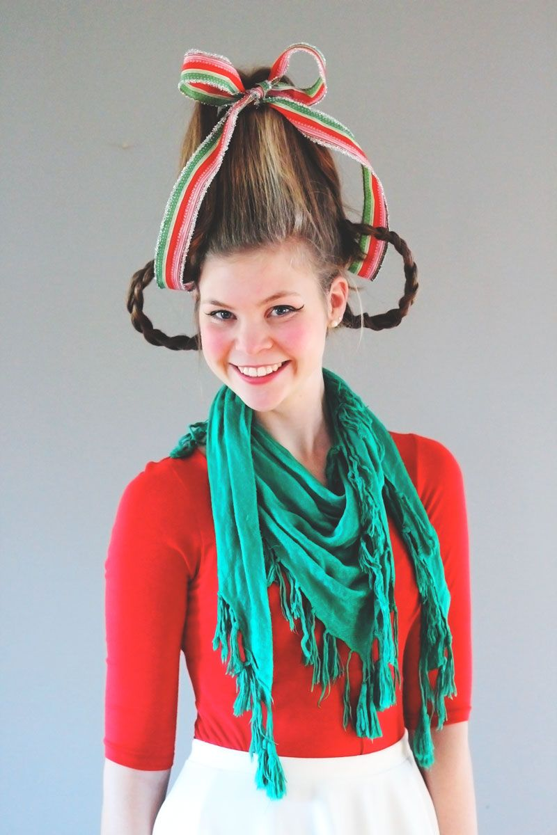 Whoville Hair and Makeup Tutorial (free Grinch mask