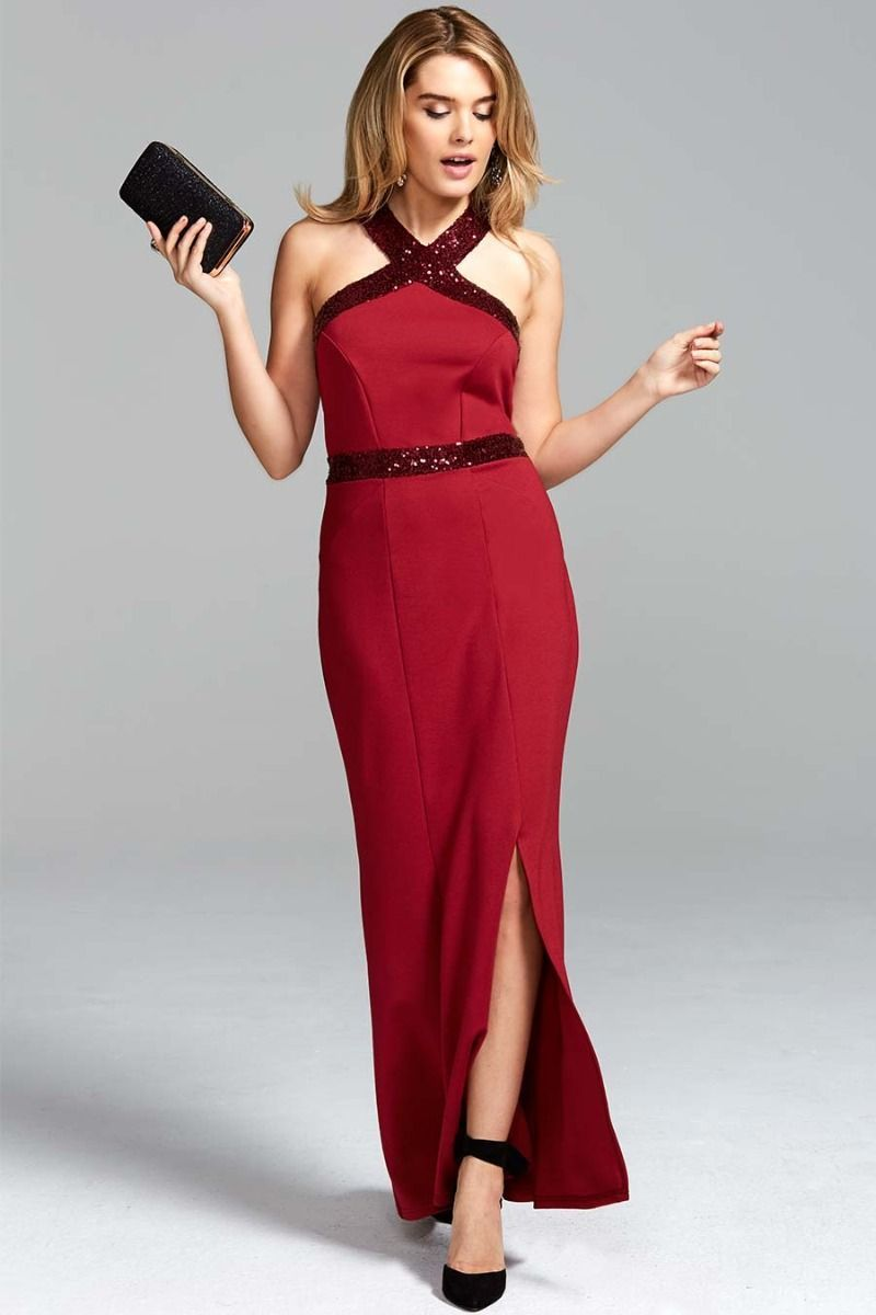 c818468f21 Red Sequined Halterneck Maxi Evening Gown | HotSquash London | Red Sequin  Maxi Dress