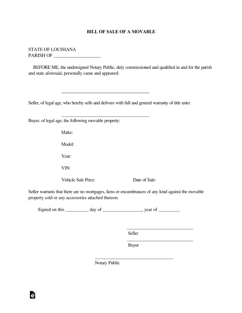 Free Louisiana Motor Vehicle Bill Of Sale Form Pdf