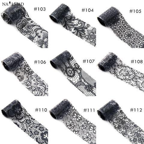 1 roll 4*100CM Holographic Nail Foils Black Lace Flower Nail Art
