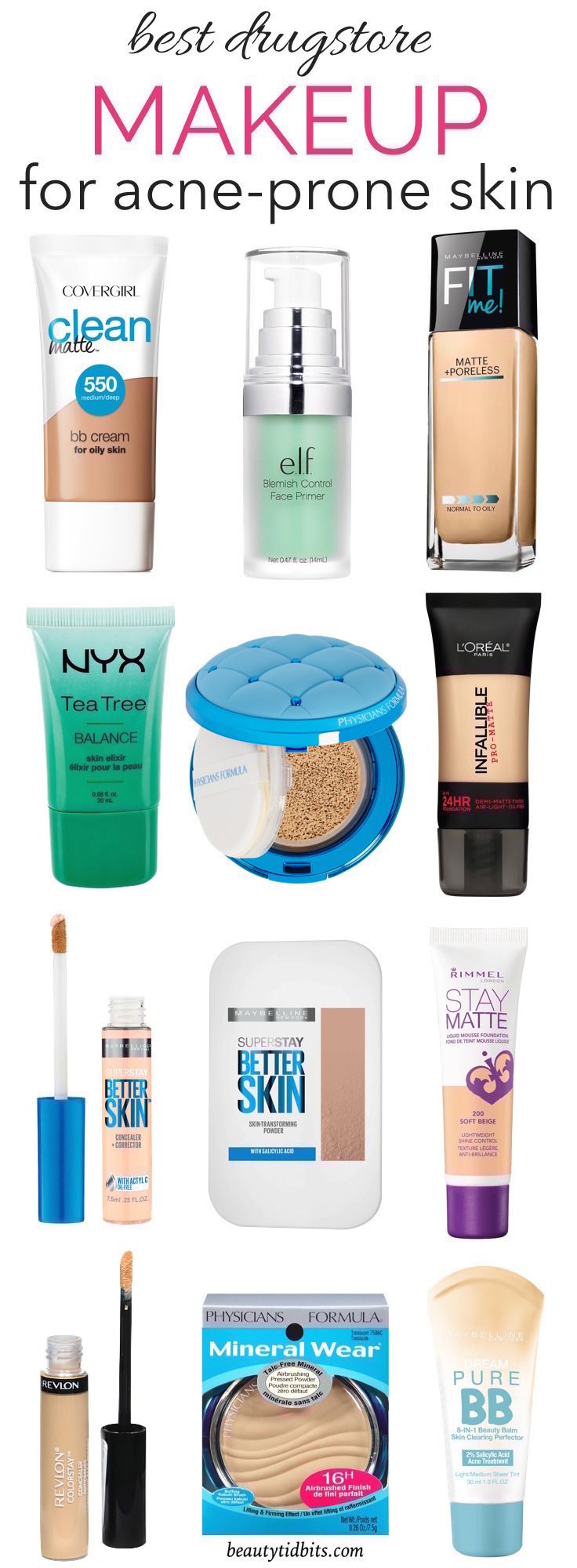 The Best Drugstore Makeup For Oily Acne Prone Skin Mostly Under 10 Acne Makeup Best Drugstore Makeup Drugstore Makeup