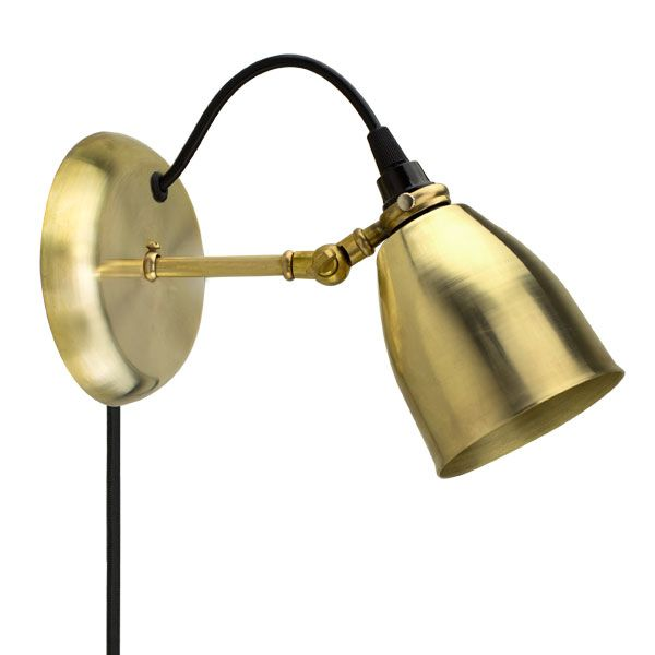 Lovell Brass Plug In Wall Sconce, 997 Raw Brass With Raw Brass Arm