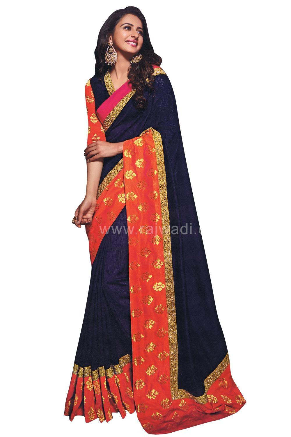5b49af9289a13 Navy Blue and Orange Color Silk Saree worn by Rakhul Preet....  rakhulpreet   orange  blue  saree  designer  partywear  rajwadi  womensfashion   sareefashion ...