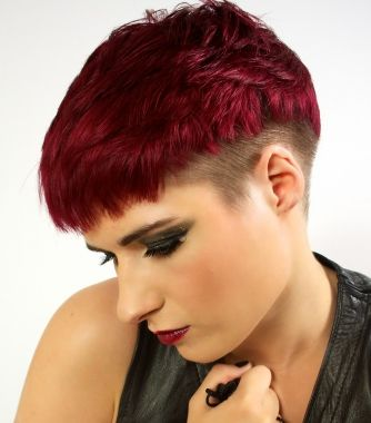 A short red straight coloured pixie shaved sides hairstyle ...