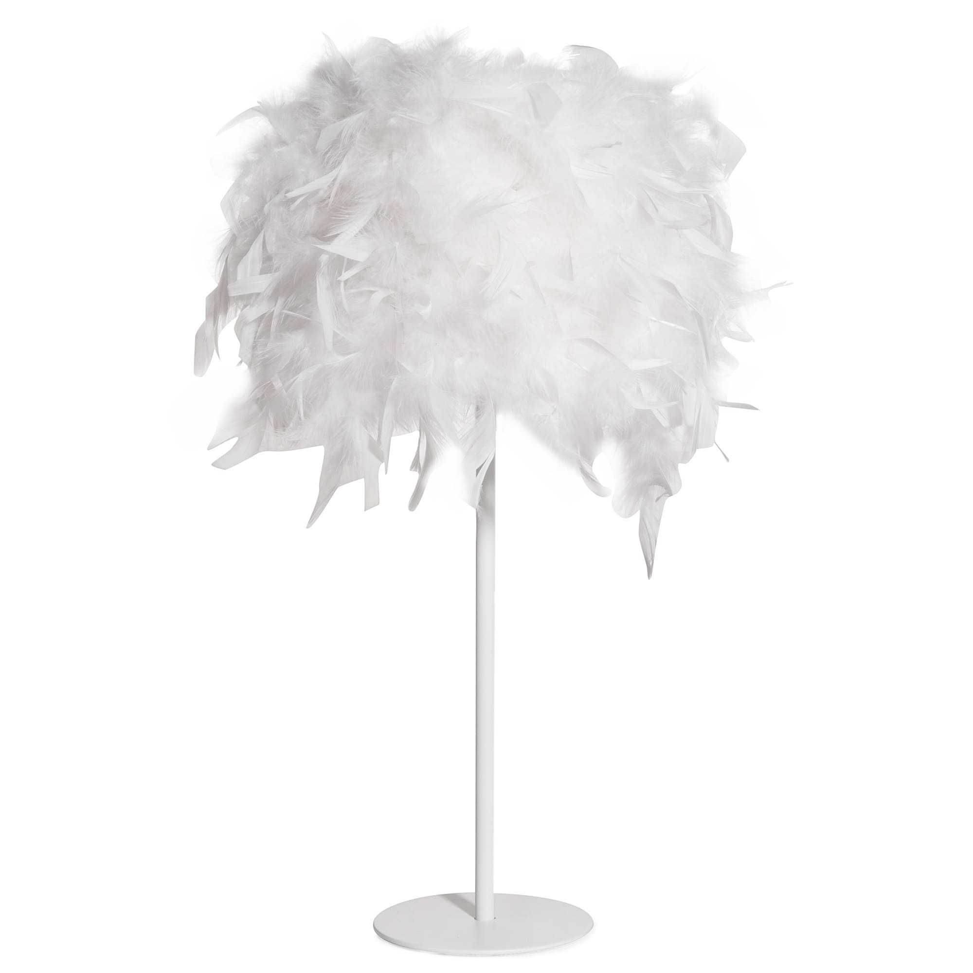 lampe en m tal abat jour plumes blanches feathers. Black Bedroom Furniture Sets. Home Design Ideas