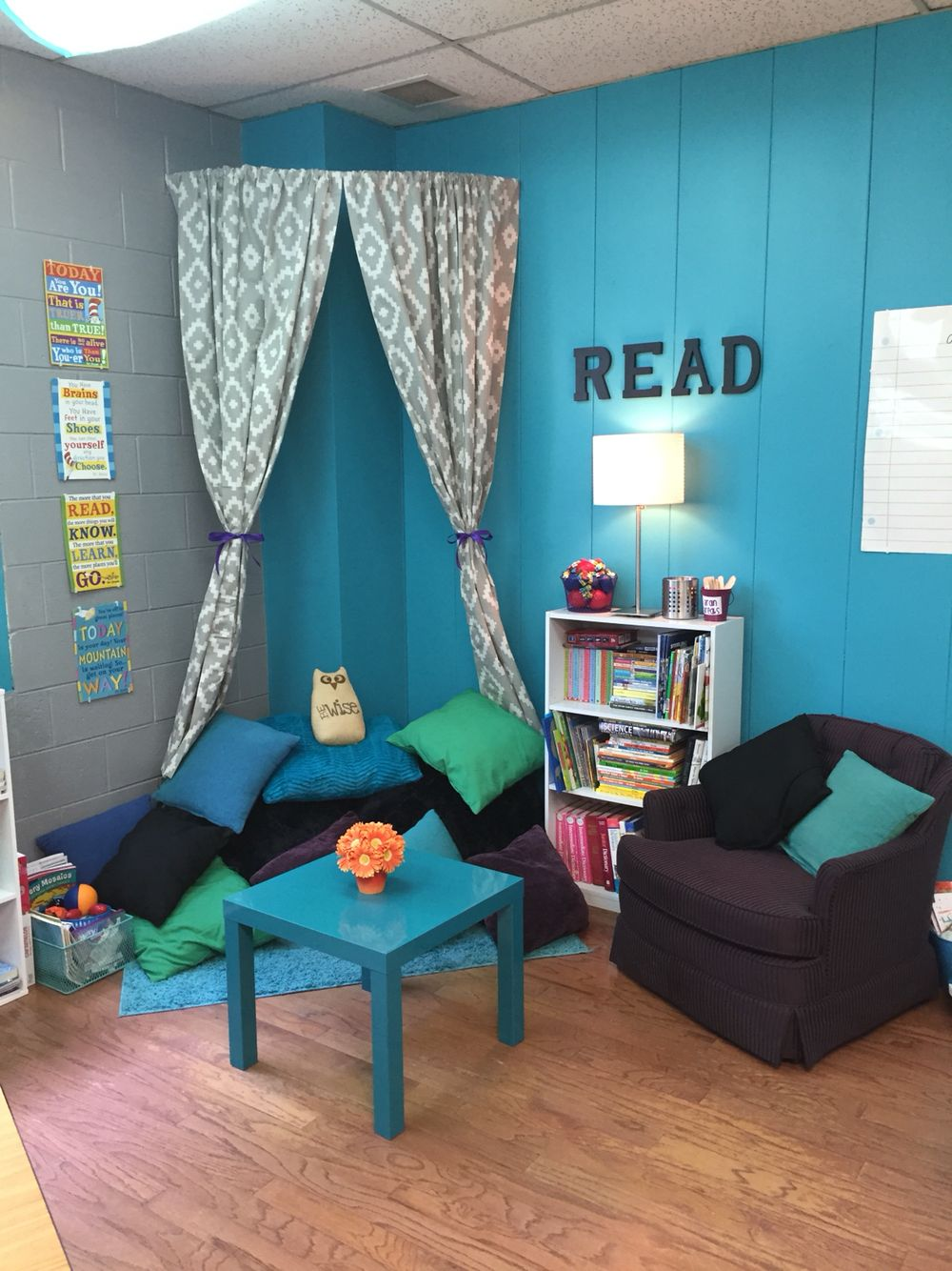 Classroom Reading Nook Curved Shower Rod Curtains And Shelves From Target Small Arm Chair And