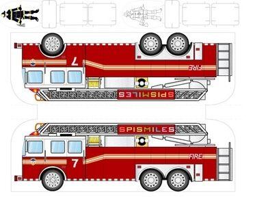 Открытки, пожарная машина из бумаги схемы развертка выкройка шаблоны