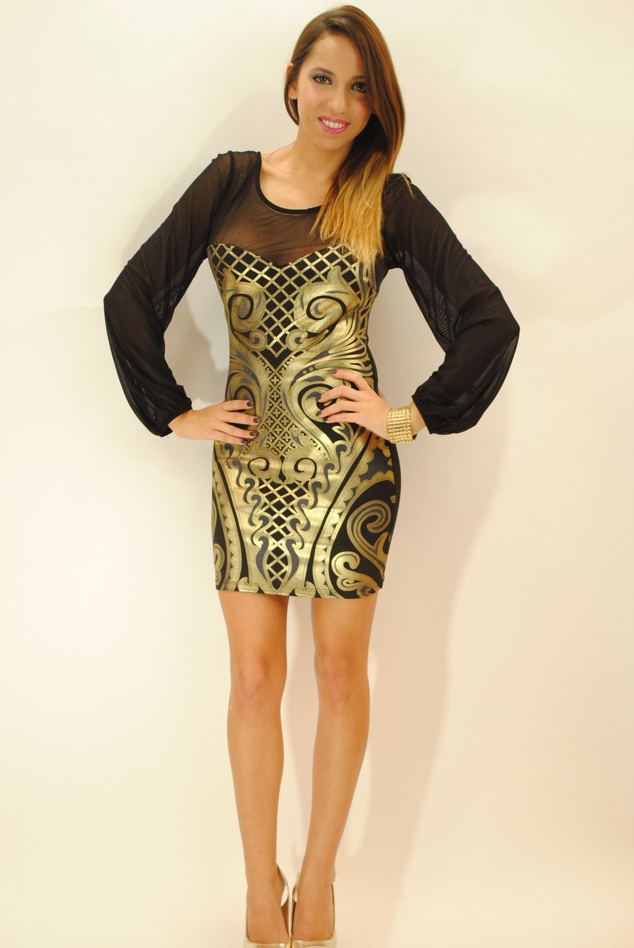 Anz gold print mesh long sleeves dress products pinterest
